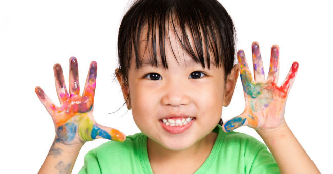 preparing for finger painting activities with young children - Children Painting Images